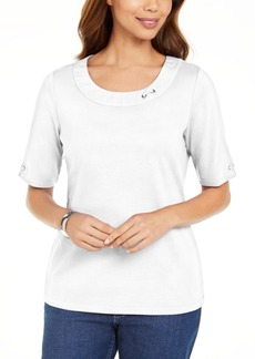 Karen Scott Petite Cotton Double-Ring Top, Created for Macy's