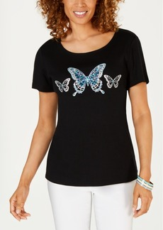 e4297a1c06132 Karen Scott Petite Cotton Embellished-Butterfly Top