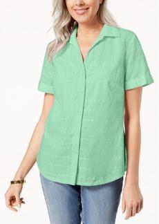 Karen Scott Petite Cotton Embroidered Shirt, Created for Macy's