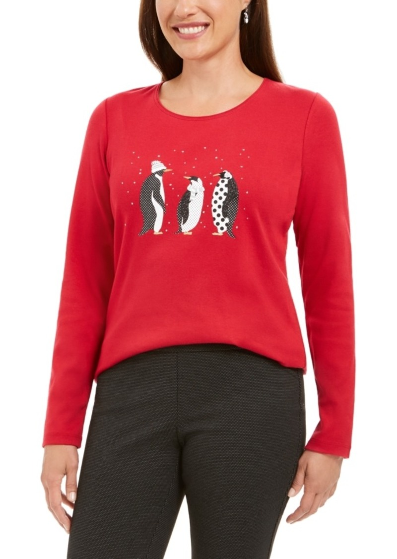 Karen Scott Polka-Dot Penguins Embellished Cotton Top, Created For Macy's