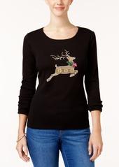 Karen Scott Petite Cotton Holiday Reindeer Graphic Top, Created for Macy's
