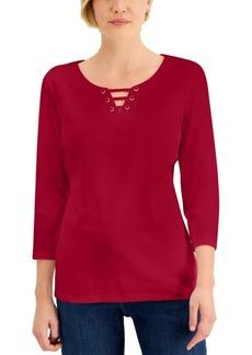 Karen Scott Petite Cotton Lattice-Neck Top, Created for Macy's