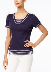 Karen Scott Cotton Striped Layered-Look Top, Created for Macy's