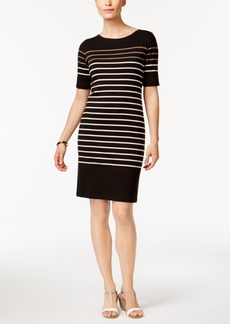Karen Scott Petite Cotton Liberty Striped Sheath Dress, Only at Macy's