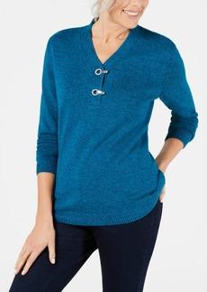 Karen Scott Petite Cotton Marled Henley Sweater, Created for Macy's