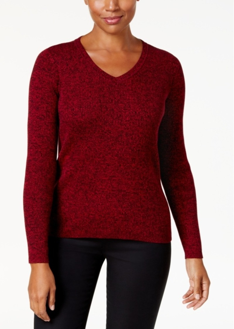 Karen Scott Karen Scott Petite Cotton Marled Sweater, Created for ...