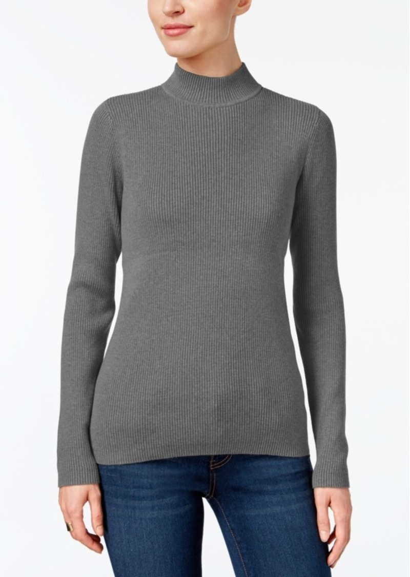 Karen Scott Karen Scott Petite Cotton Mock-Neck Sweater, Created ...
