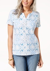 Karen Scott Petite Cotton Printed Short-Sleeve Henley, Created for Macy's