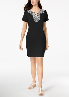 Karen Scott Petite Cotton Puff Print Sheath, Created for Macy's