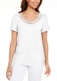 Karen Scott Petite Cotton Rhinestone Top, Created for Macy's