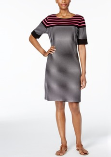 Karen Scott Petite Cotton Striped Shift Dress, Only at Macy's