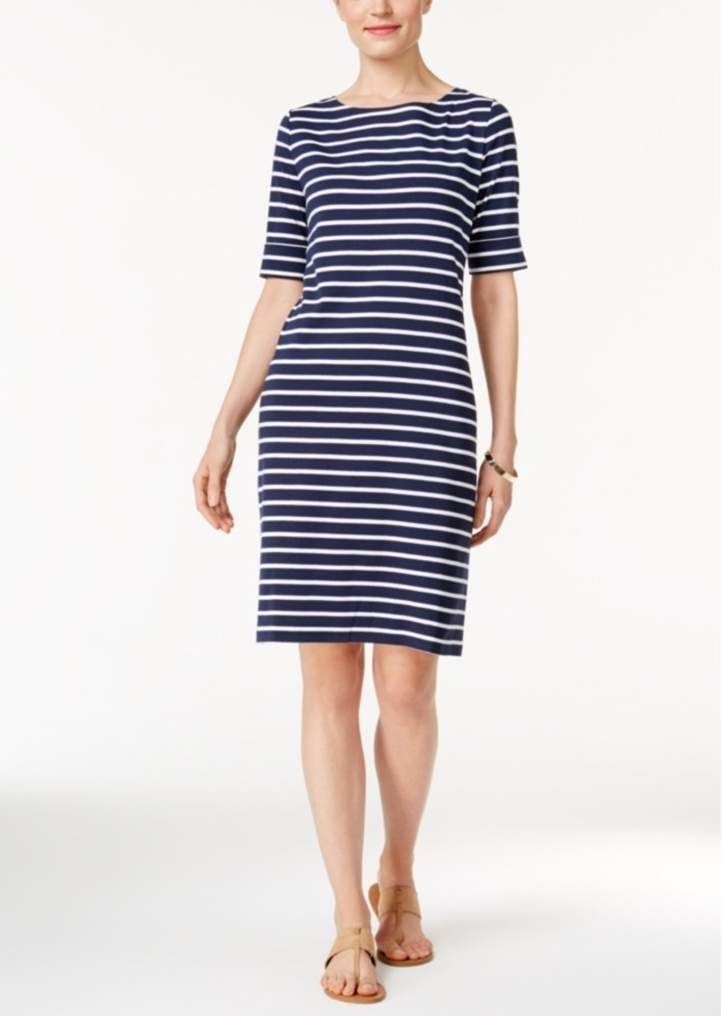 Karen Scott Striped T-Shirt Dress, Only at Macy's