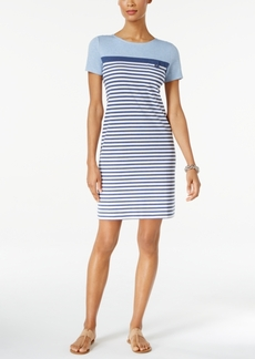 Karen Scott Petite Cotton Striped T-Shirt Dress, Only at Macy's