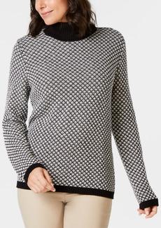 Karen Scott Cotton Patterned Turtleneck, Created for Macy's