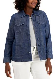 Karen Scott Petite Denim Button-Front Jacket, Created for Macy's