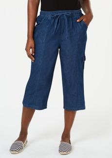 Karen Scott Petite Edna Denim Cargo Capri Pants, Created for Macy's