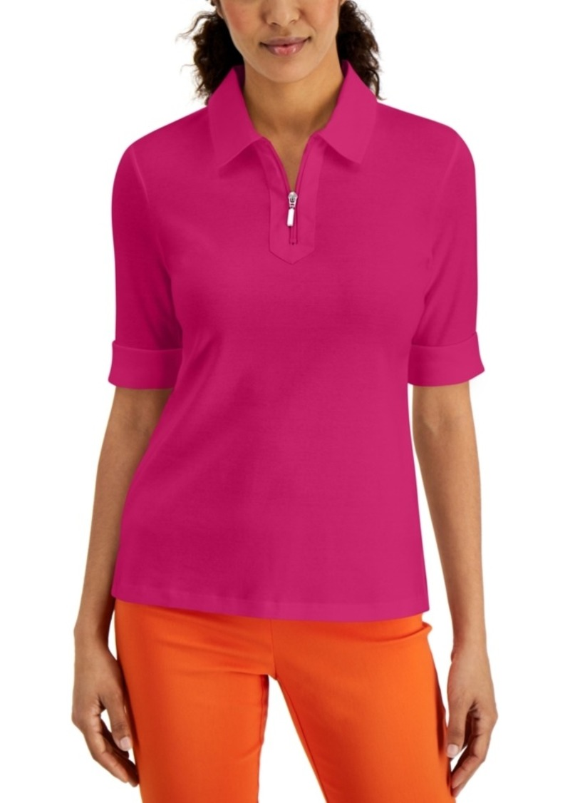 Karen Scott Petite Elbow-Length Collared Shirt, Created for Macy's