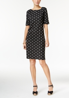 Karen Scott Petite Elbow-Sleeve Printed Dress, Only at Macy's