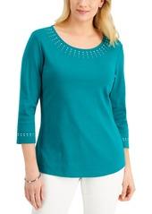 Karen Scott Petite Embellished 3/4-Sleeve Top, Created for Macy's