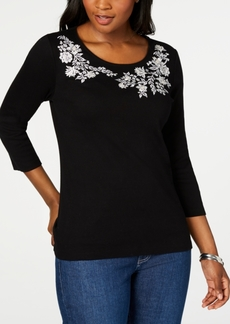 Karen Scott Petite Embroidered 3/4-Sleeve Top, Created for Macy's