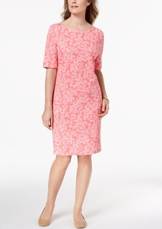 Karen Scott Petite Floral-Print Elbow-Sleeve Dress, Created for Macy's