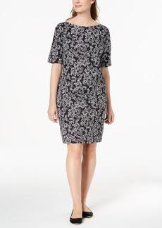 Karen Scott Petite Floral-Print Elbow-Sleeve Dress, Created for Macy's