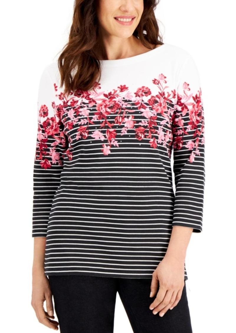 Karen Scott Petite Floral-Print Striped Top, Created for Macy's