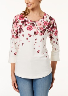 Karen Scott 3/4-Sleeve French Terry Sweatshirt, Created for Macy's