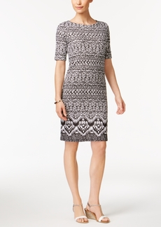 Karen Scott Petite Geo-Print Sheath Dress, Created for Macy's