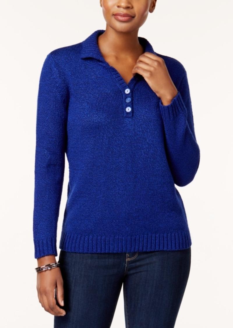 Karen Scott Karen Scott Petite Henley Sweater Created For Macys