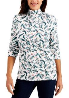 Karen Scott Petite Holly Berry-Print Mock-Neck Top, Created for Macy's