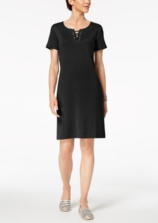 Karen Scott Petite Lace-Up Dress, Created for Macy's