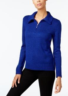 Karen Scott Petite Mock-Neck Quarter-Zip Sweater, Created for Macy's