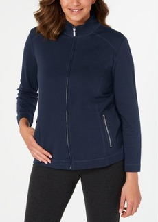 Karen Scott Petite Mock-Neck Zip Jacket, Created for Macy's