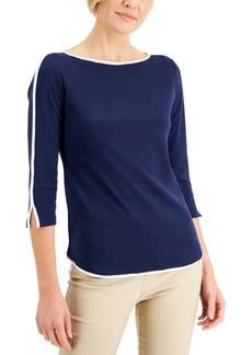 Karen Scott Petite Piped 3/4-Sleeve Boat-Neck Top, Created for Macy's