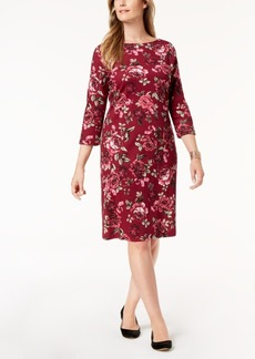 Karen Scott Petite Printed Boat-Neck Dress, Created for Macy's