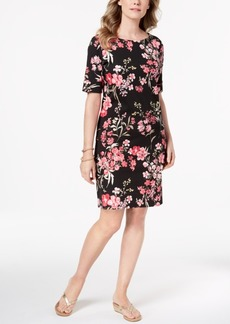 Karen Scott Floral-Print Elbow-Sleeve Dress, Created for Macy's