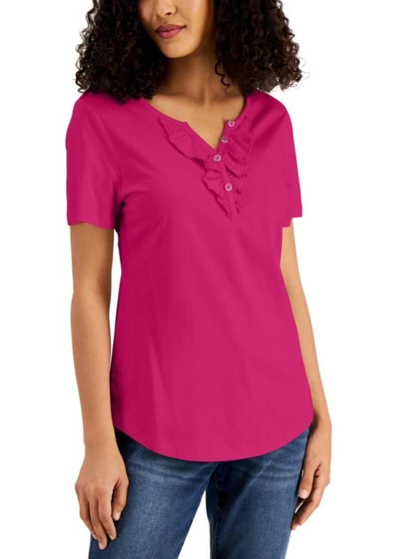 Karen Scott Ruffled Henley Top, Created for Macy's