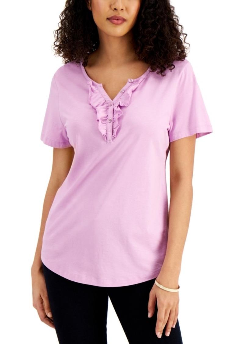 Karen Scott Ruffled Henley Top, Created for Macy's