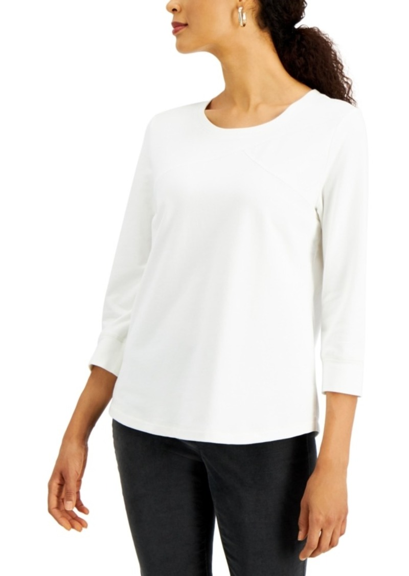 Karen Scott Petite Seamed Terry Top, Created for Macy's
