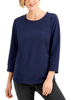 Karen Scott Seamed French Terry Top, Created for Macy's