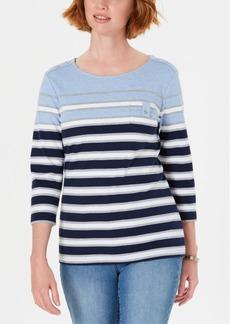 Karen Scott Petite Serena Striped Pocket Top, Created for Macy's