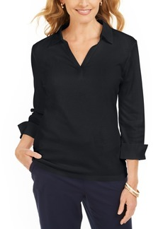 Karen Scott Petite Split-Neck Point-Collar Top, Created For Macy's