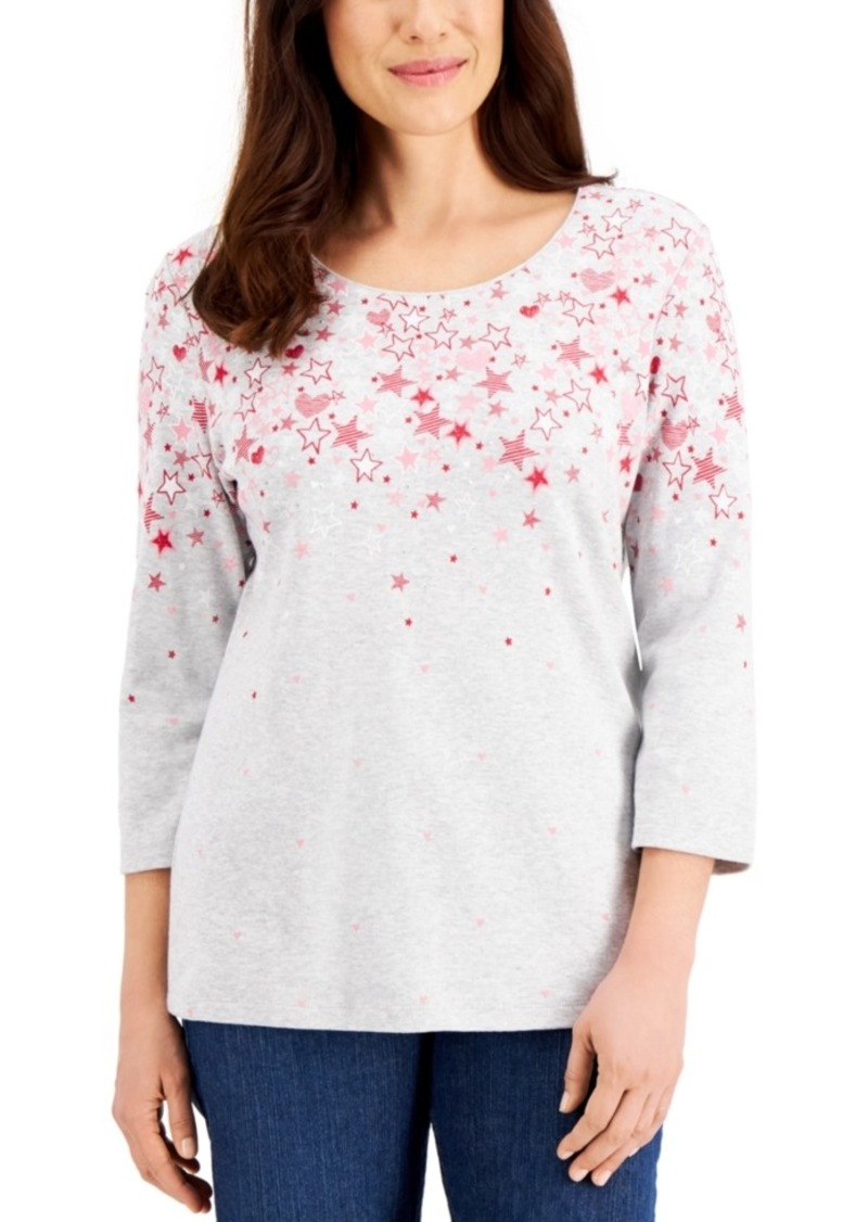 Karen Scott Star Fall Printed Top, Created for Macy's