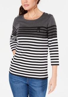 Karen Scott Petite Striped Colorblocked Top, Created for Macy's
