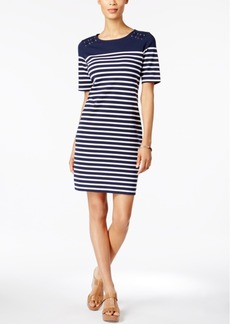 Karen Scott Petite Striped Sheath Dress, Only at Macy's