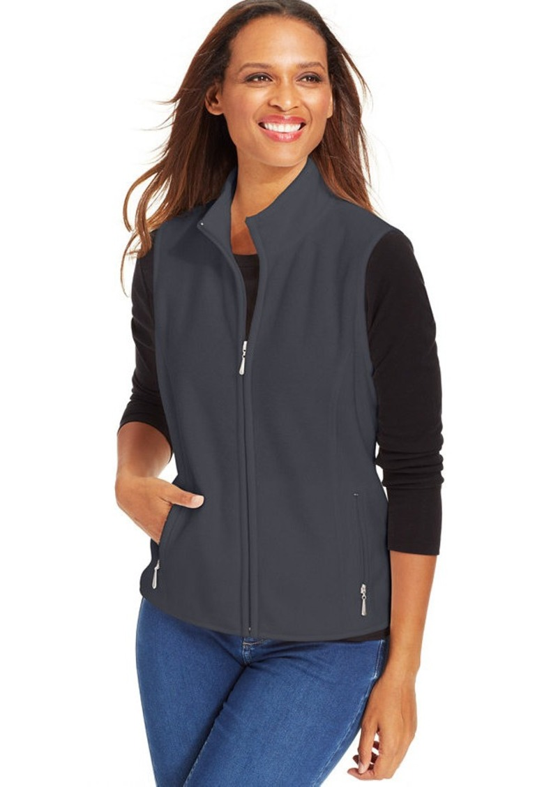 Karen scott karen scott petite zip front fleece vest for Zip front flannel shirt