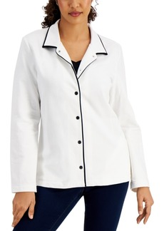 Karen Scott Piped Collared Jacket, Created for Macy's