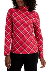 Karen Scott Plaid Long-Sleeve Turtleneck, Created For Macy's