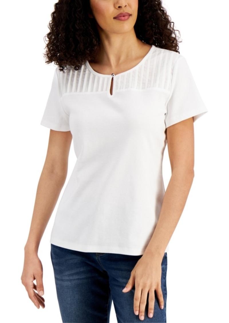 Karen Scott Pleated-Yoke Cotton Top, Created for Macy's